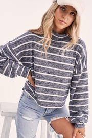 Wild Lilies Jewelry  Striped Crop Turtleneck - Front full body
