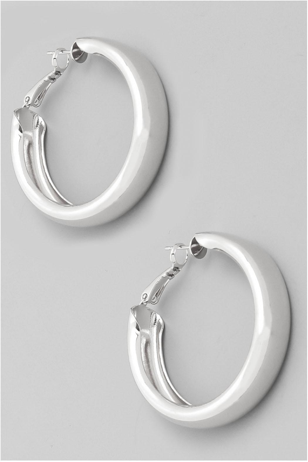 Wild Lilies Jewelry  Thick Silver Hoops - Main Image