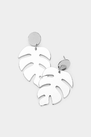 Wild Lilies Jewelry  Tropical Leaf Earrings - Front full body