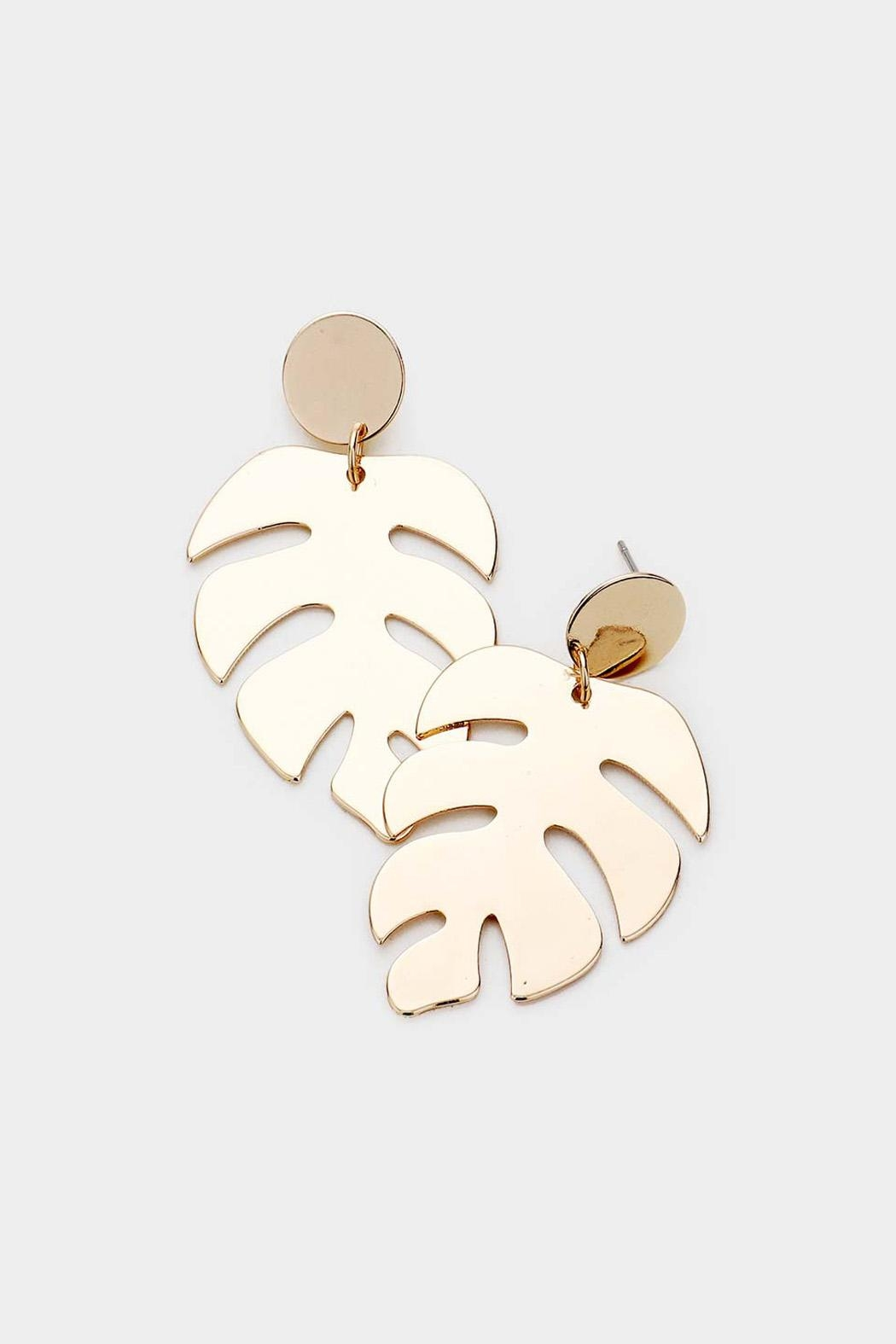 Wild Lilies Jewelry  Tropical Leaf Earrings - Front Full Image