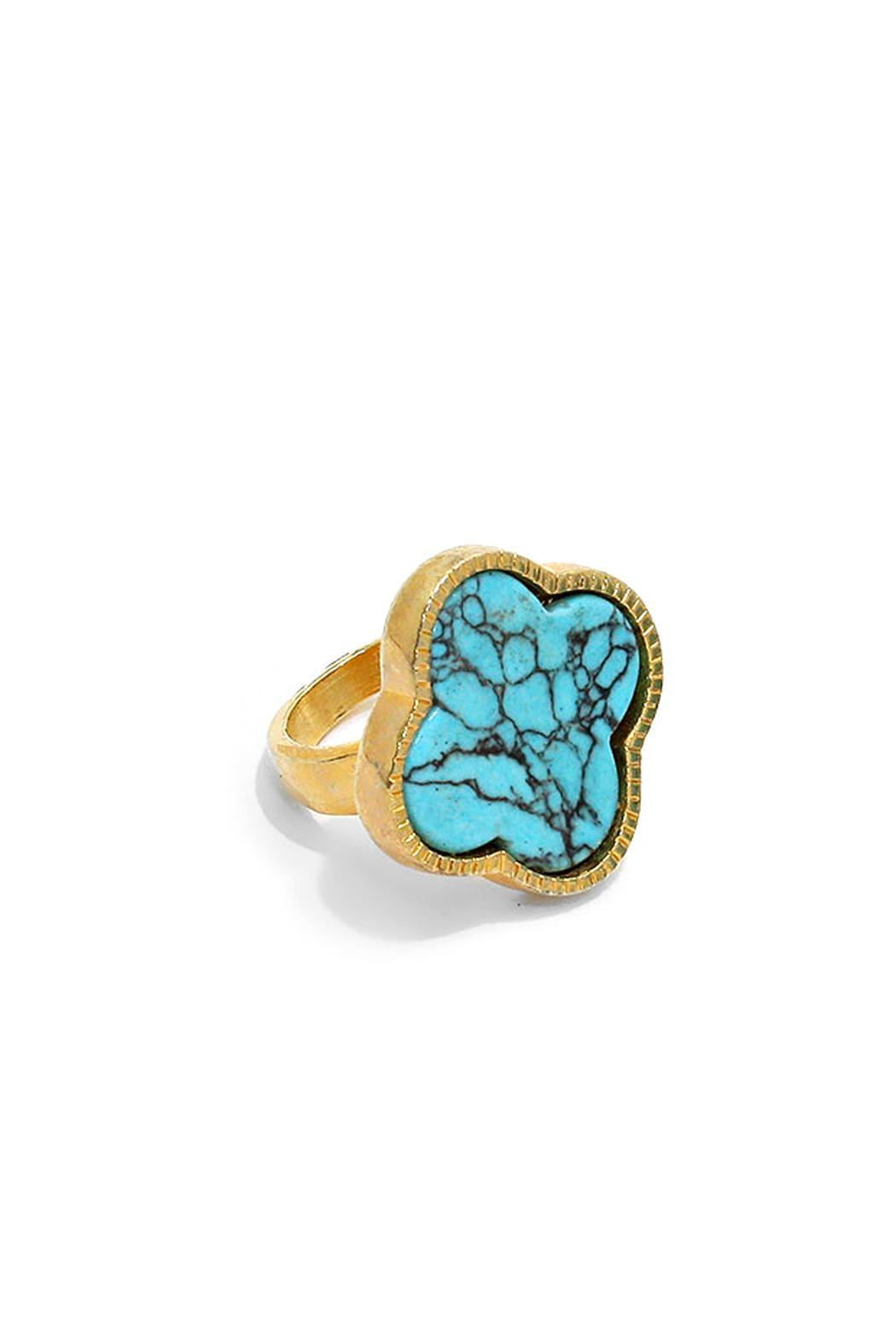 Wild Lilies Jewelry  Turquoise Clover Ring - Front Cropped Image