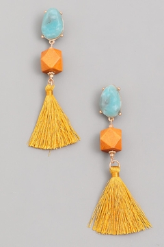 Wild Lilies Jewelry  Turquoise Tassel Earrings - Alternate List Image