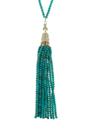 Wild Lilies Jewelry  Turquoise Tassel Necklace - Front cropped
