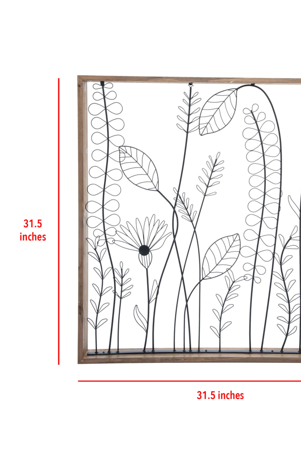 Foreside Home & Garden Wildflower Silhouette Wall Art - Front Full Image