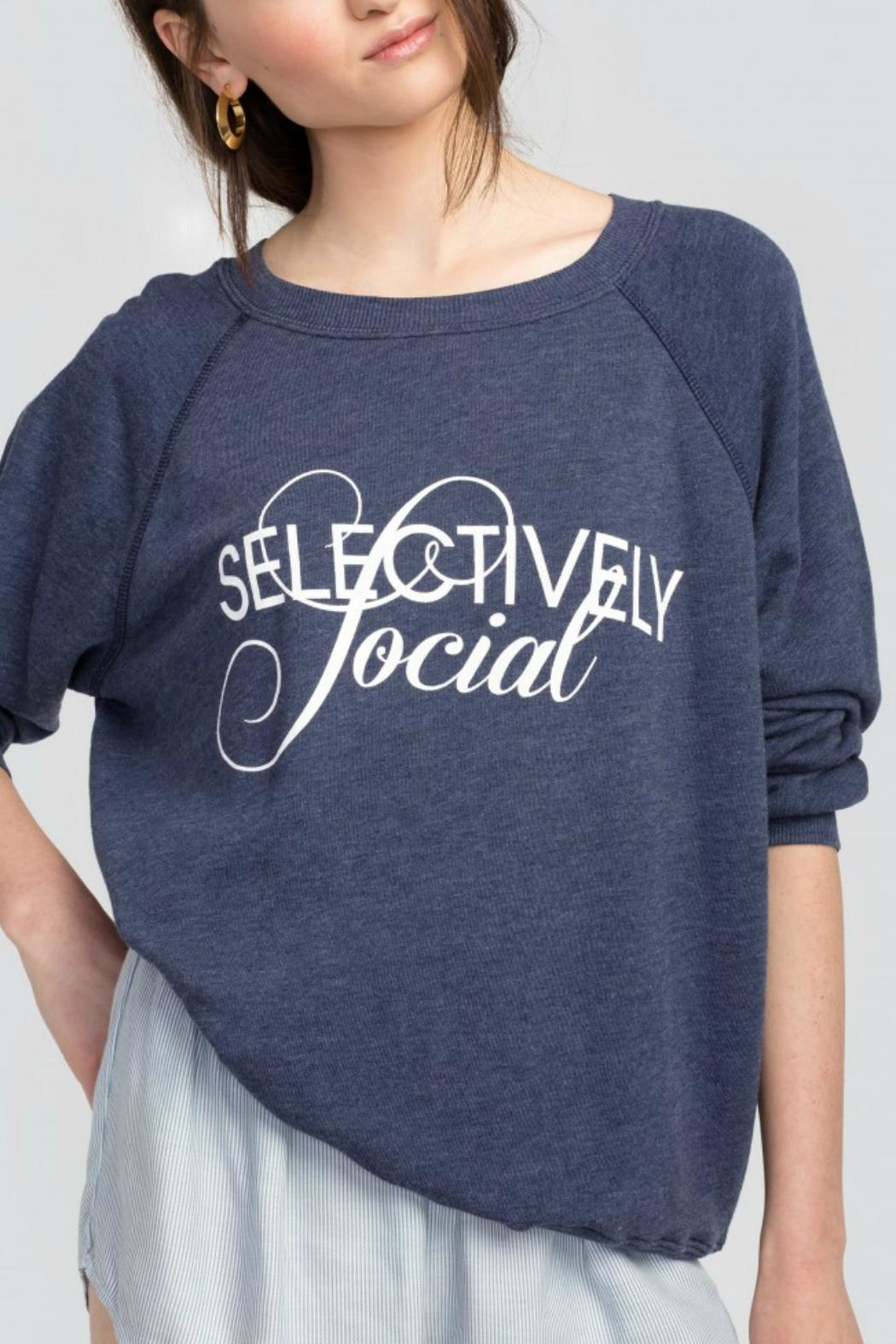 Wildfox Selectively Social Sweatshirt - Front Cropped Image
