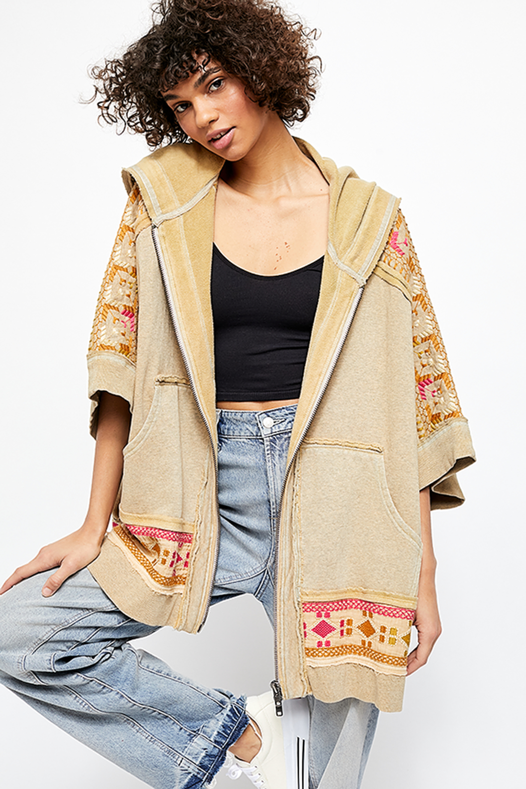 Free People Wildside Poncho In Dune Beige - Main Image