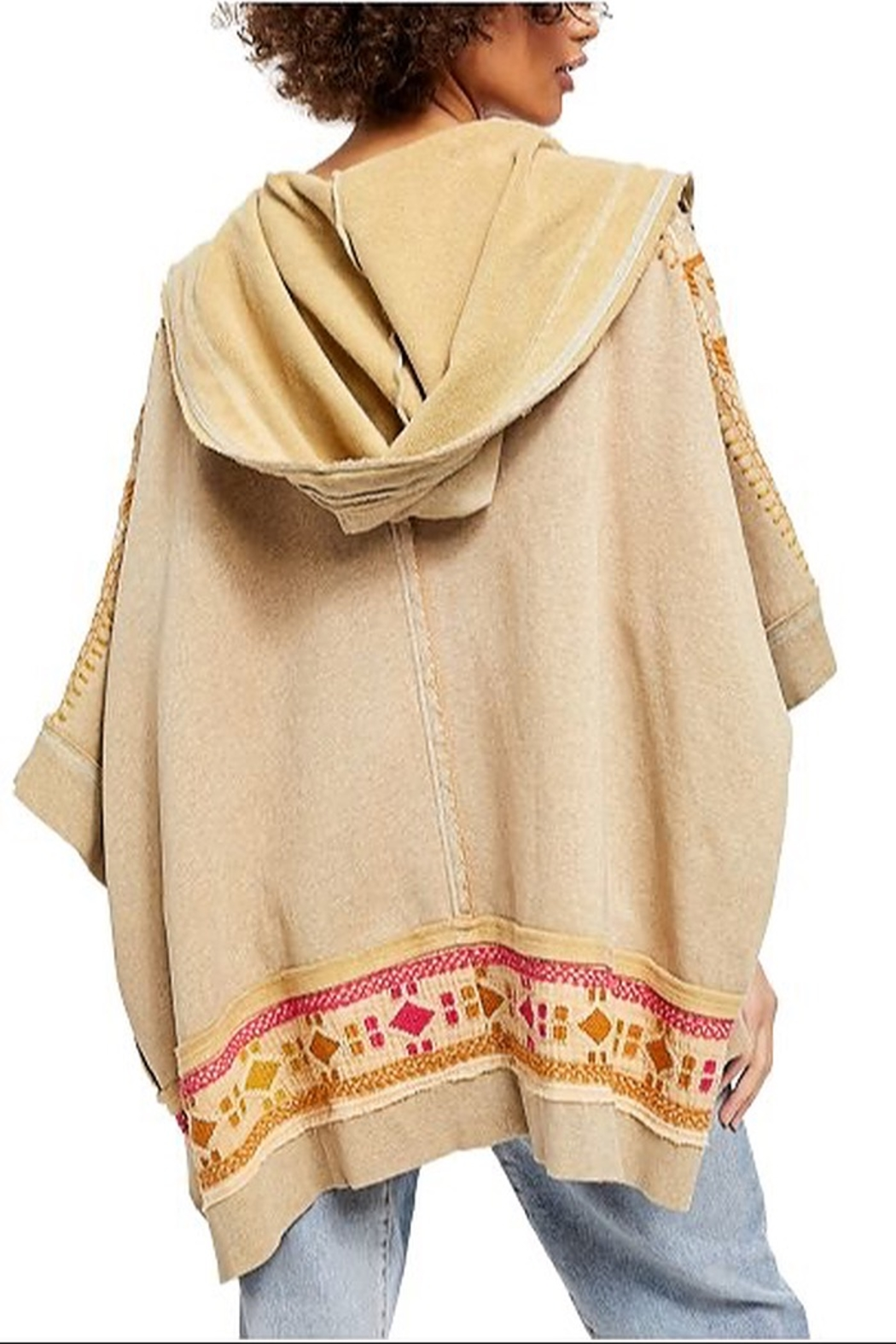 Free People Wildside Poncho In Dune Beige - Front Full Image