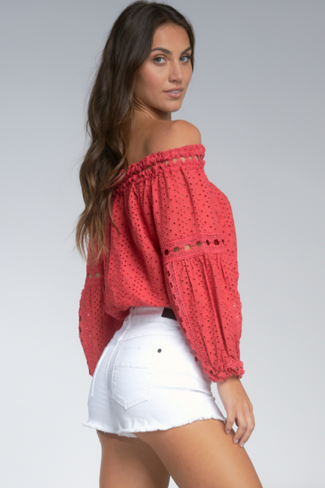 Elan  Wilhelmina Off-Shoulder Top - Front Full Image
