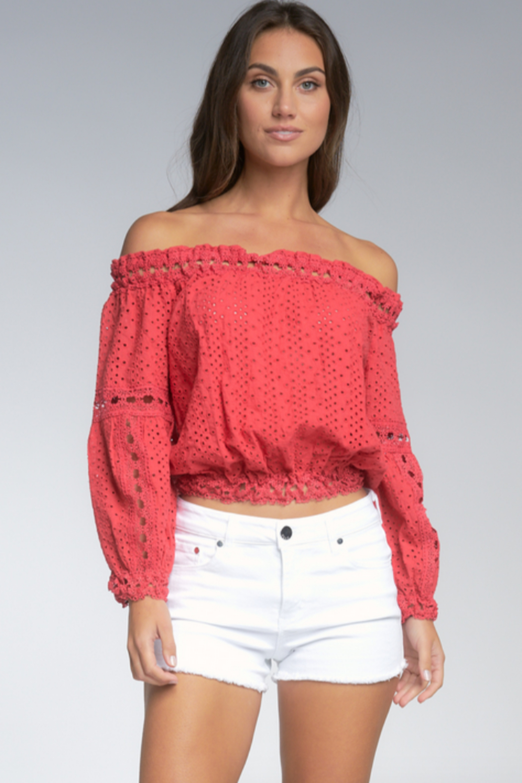 Elan  Wilhelmina Off-Shoulder Top - Front Cropped Image