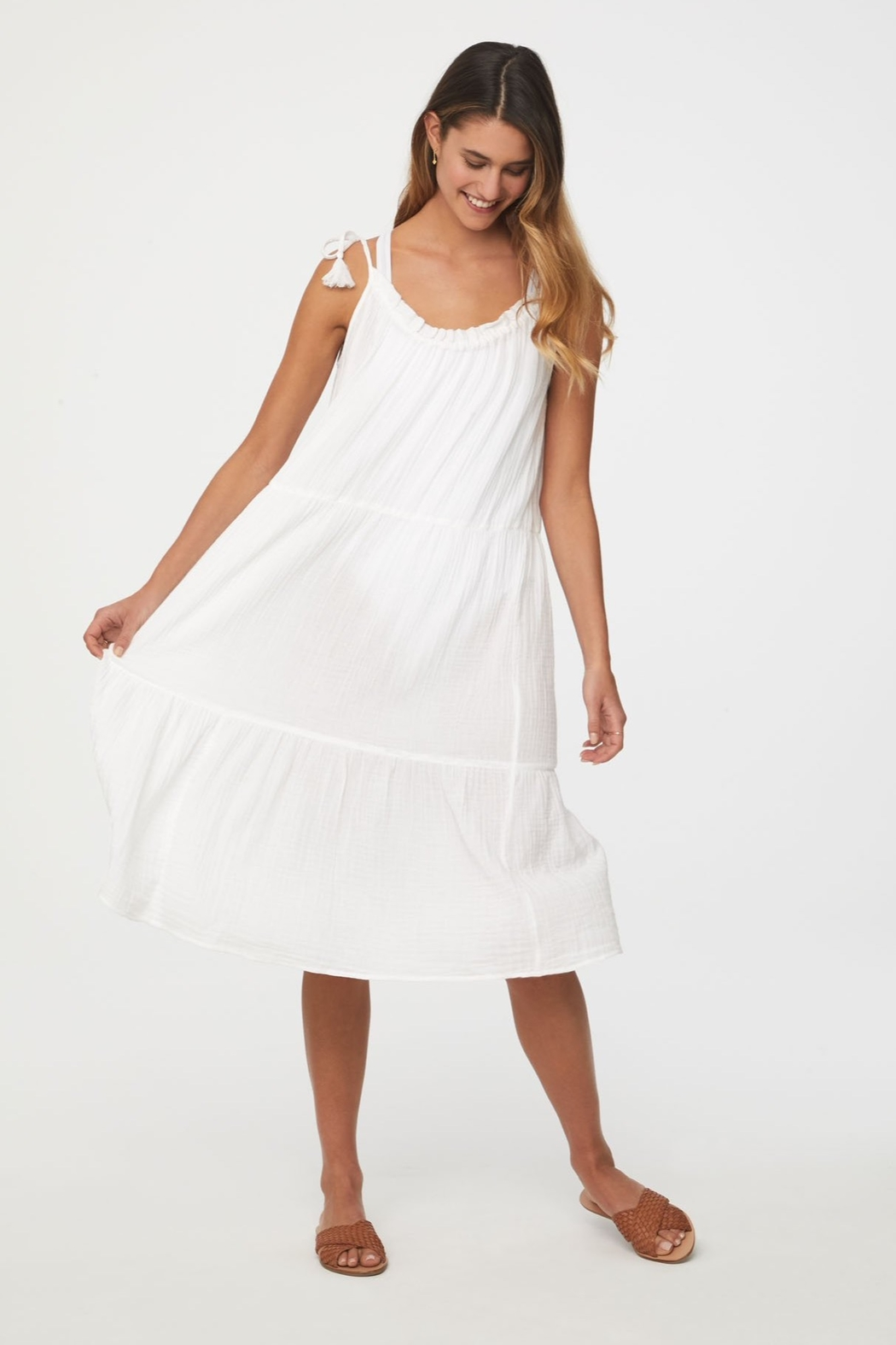 beachlunchlounge Willa Tie Shoulder Dress - Side Cropped Image