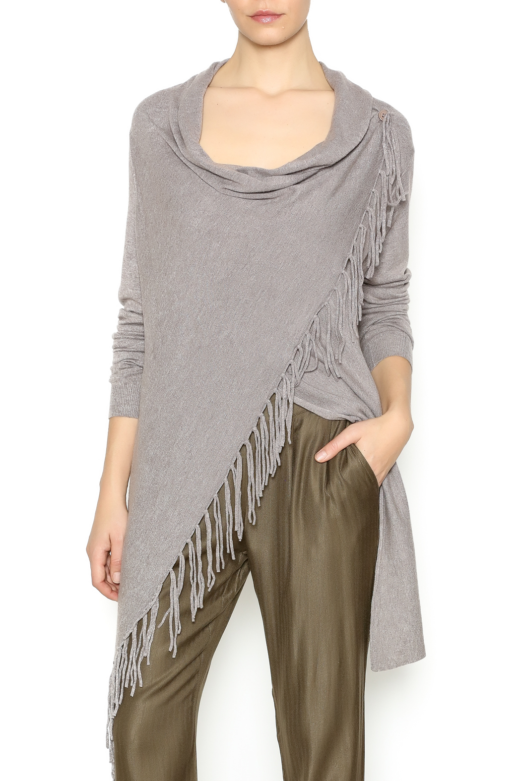 WILLIAM B Asymmetrical Fringe Sweater - Front Cropped Image