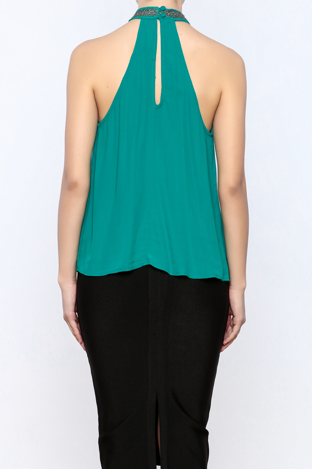 Willow & Clay Beaded Halter Top - Back Cropped Image
