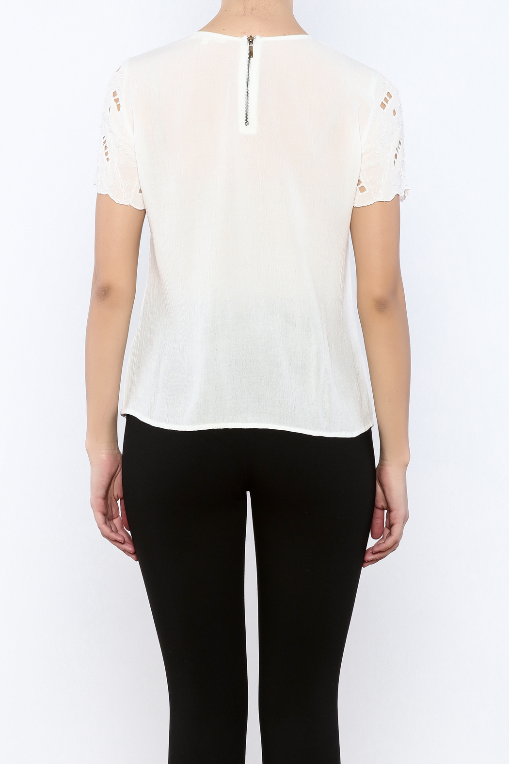 Willow & Clay Ivory Embellished Top - Back Cropped Image
