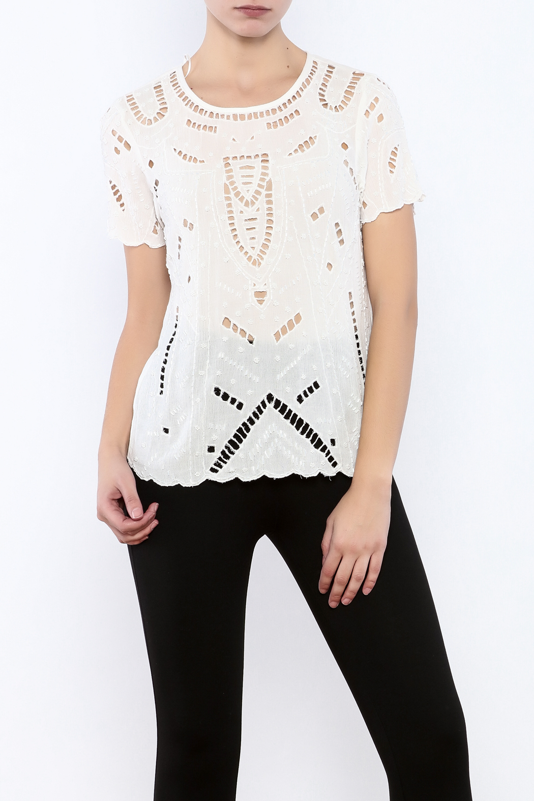 Willow & Clay Ivory Embellished Top - Main Image