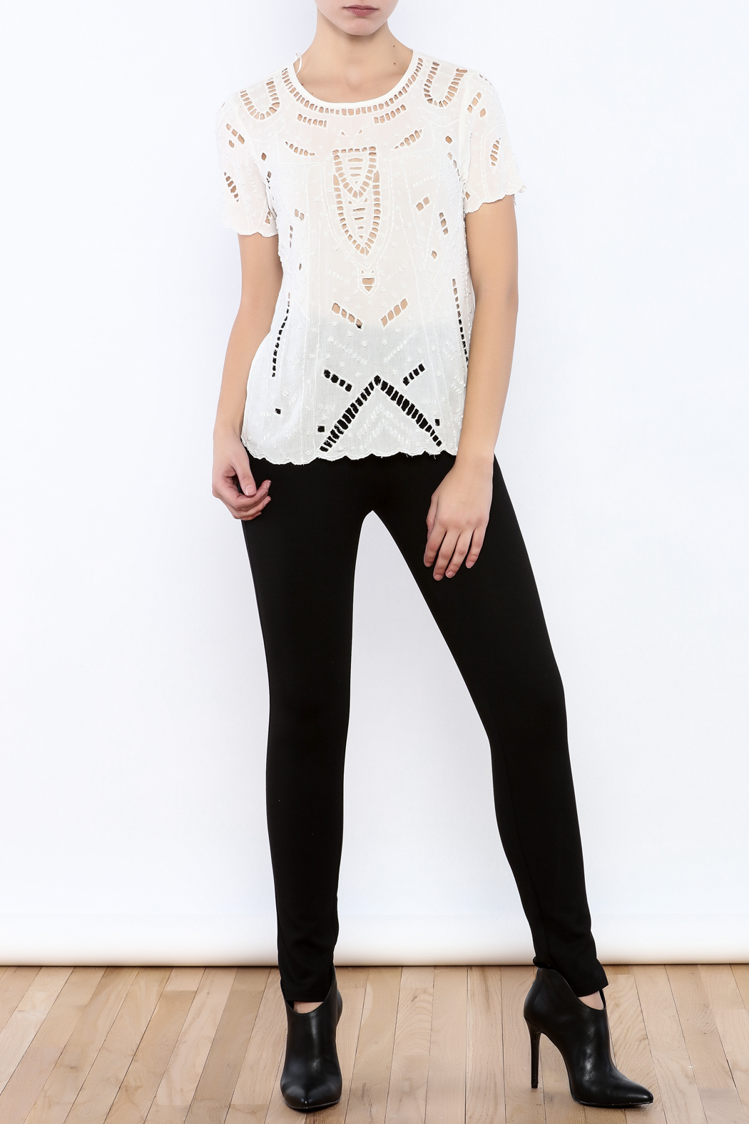 Willow & Clay Ivory Embellished Top - Front Full Image