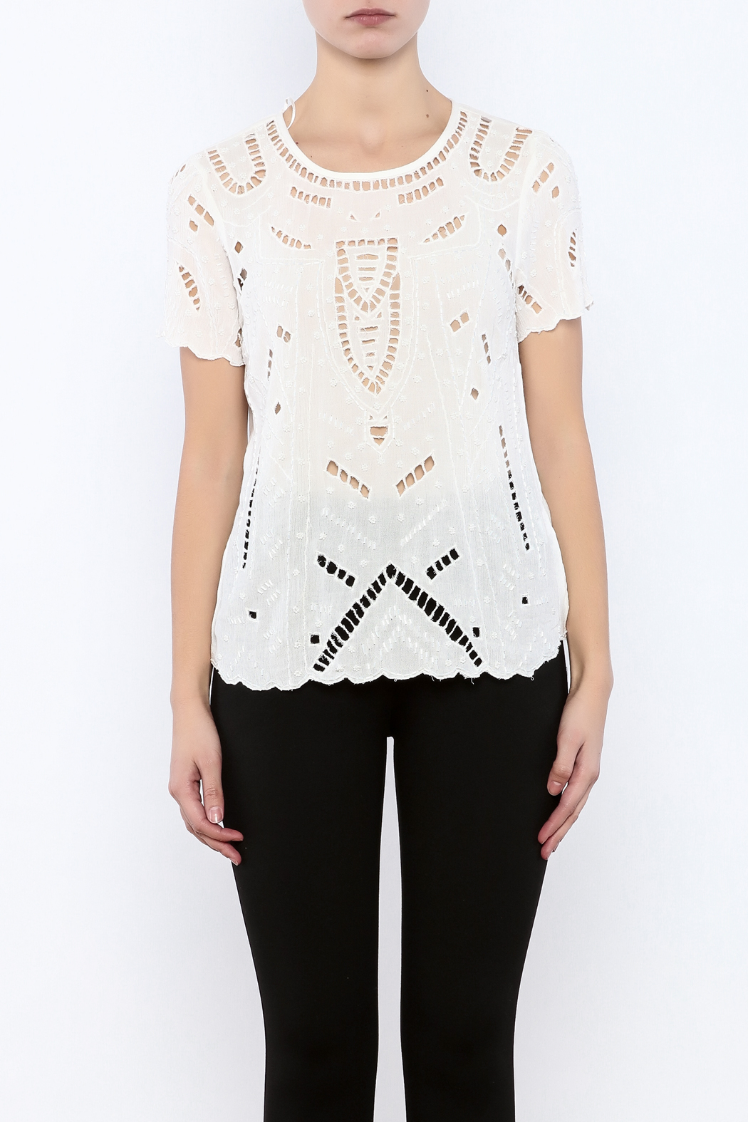 Willow & Clay Ivory Embellished Top - Side Cropped Image