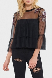 Willow & Clay Mesh Ruffle Top - Front cropped
