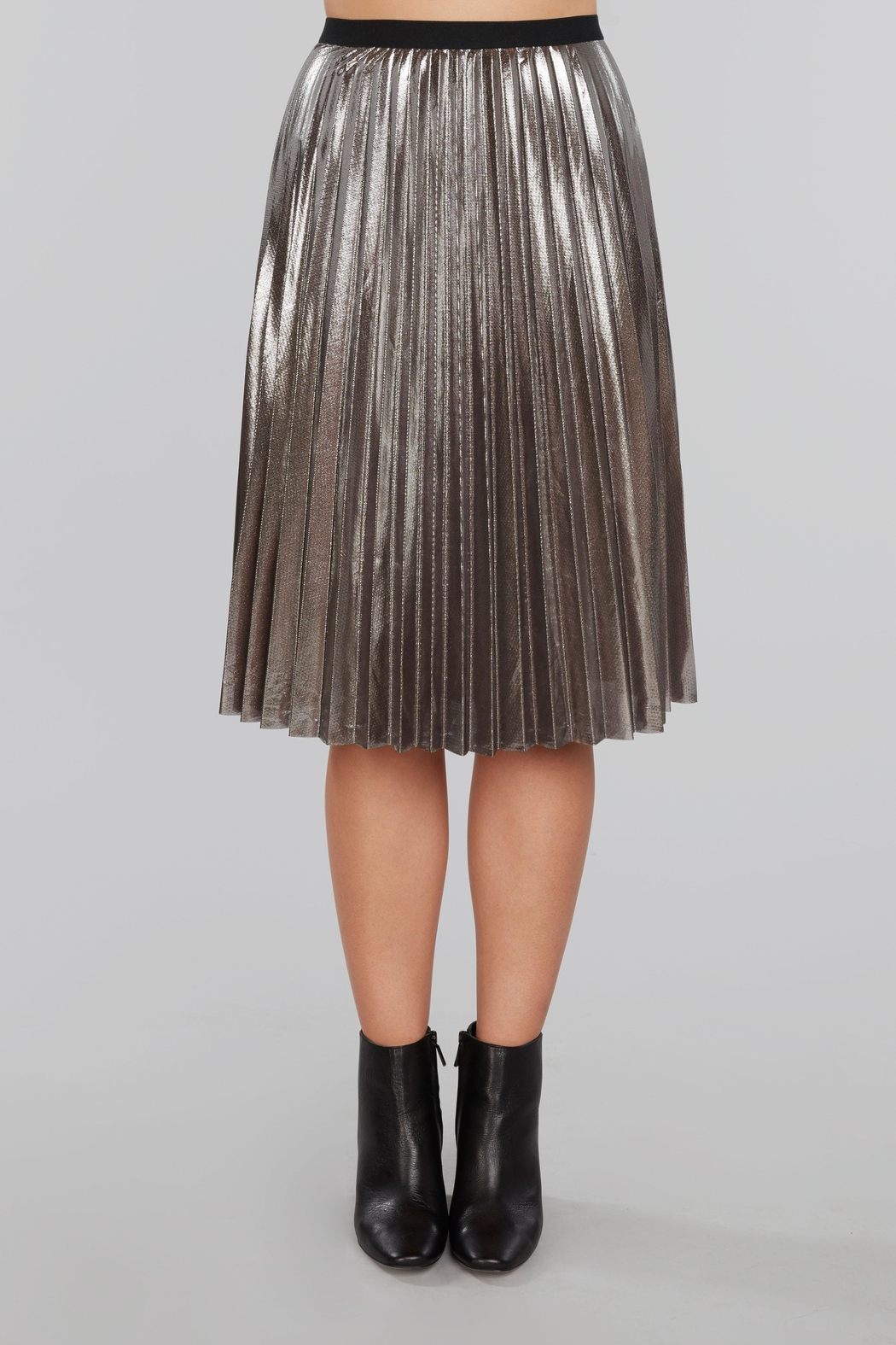 Willow & Clay Pleated Metallic Midi Skirt - Main Image