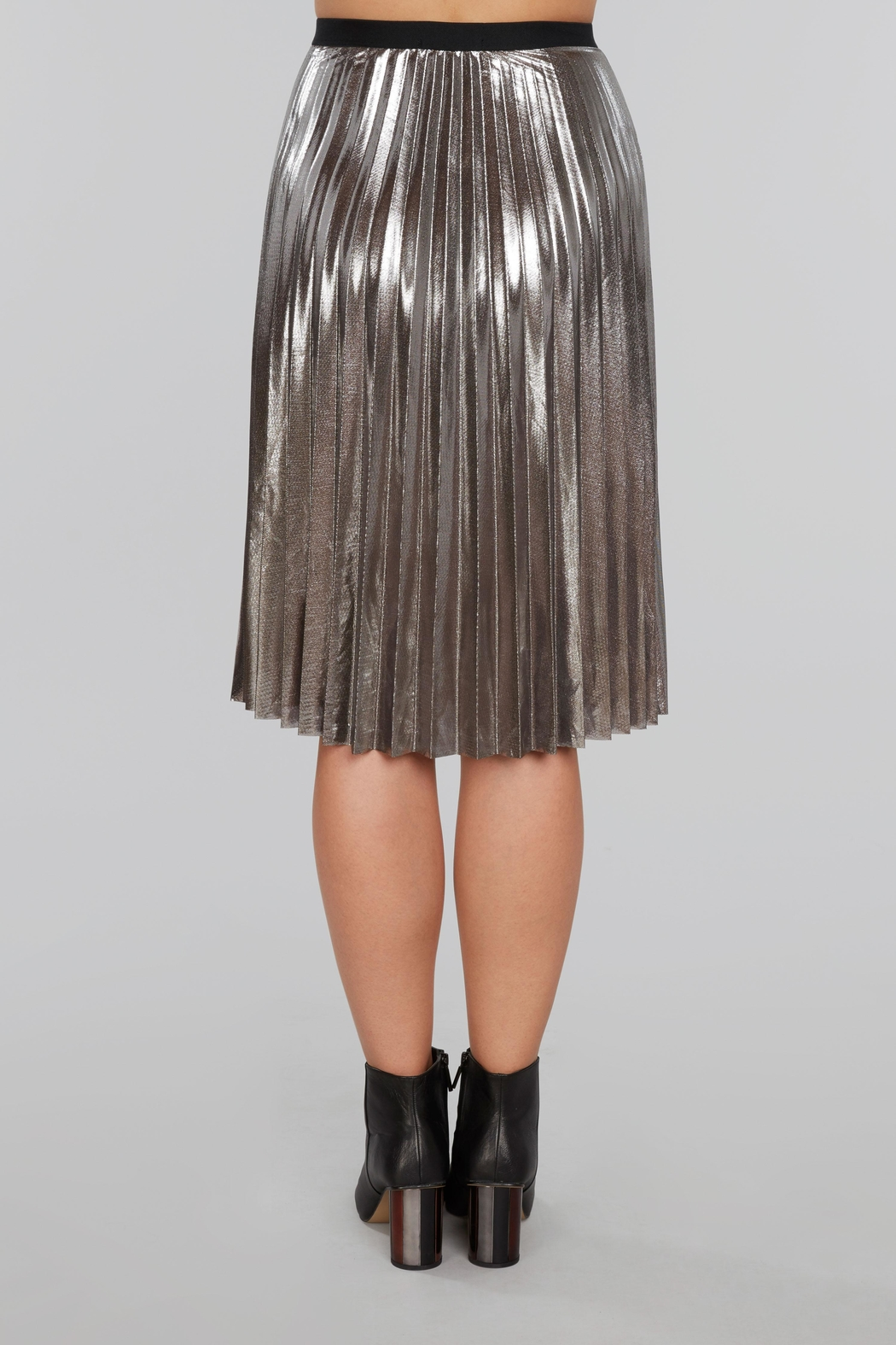 Willow & Clay Pleated Metallic Midi Skirt - Front Full Image