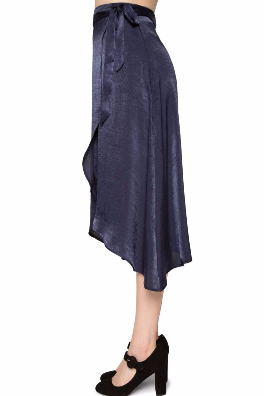 Willow & Clay Satin Wrap Skirt - Side Cropped Image