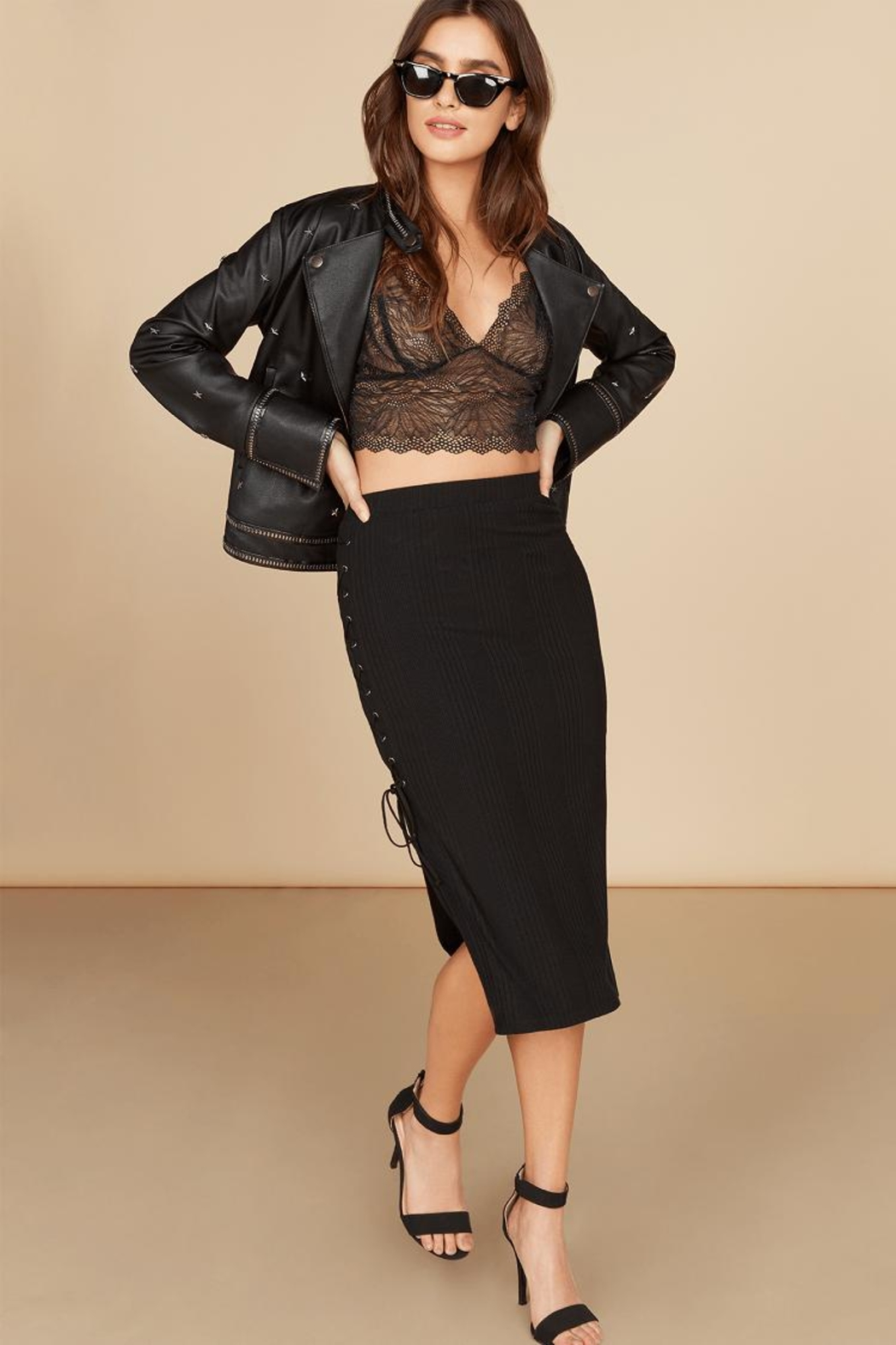 Willow & Clay Side Lace-Up Skirt - Main Image