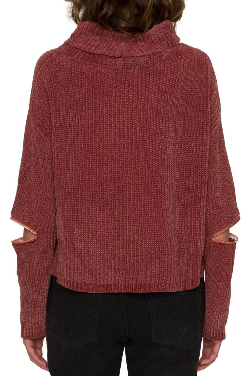 Willow & Clay Zip Sleeve Turtleneck Top - Front Full Image