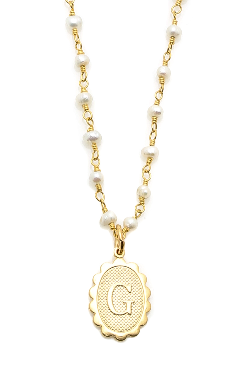 Wimberley Monogram Pearl Necklace  Front Full Image