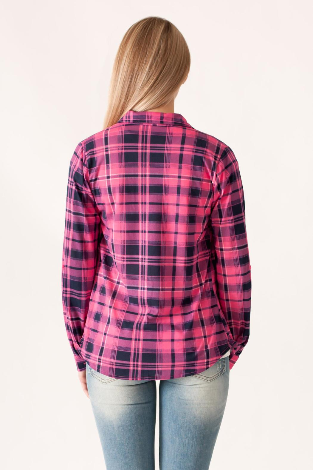 Win Win Plaid Button Down - Back Cropped Image