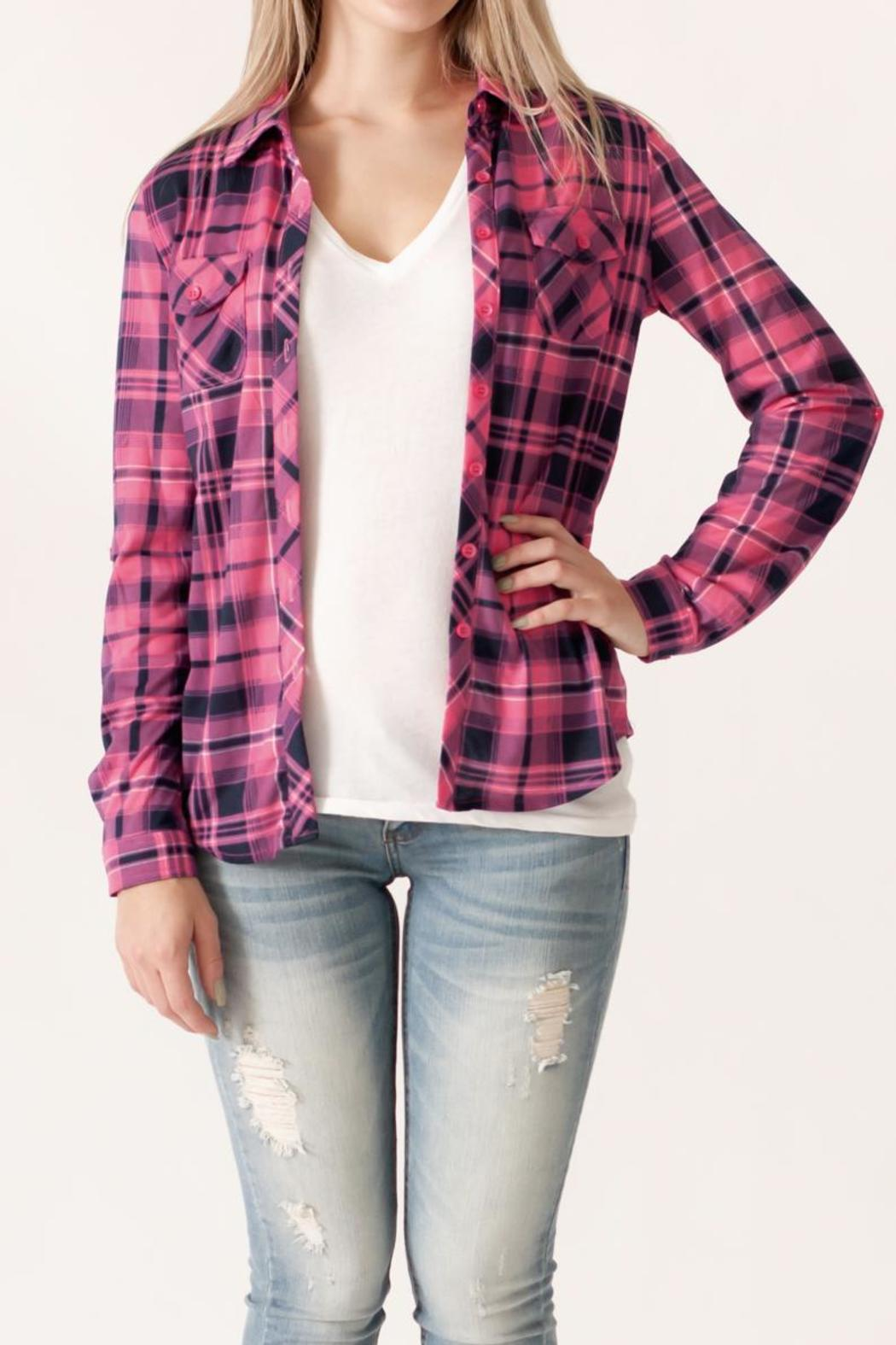 Win Win Plaid Button Down - Front Cropped Image