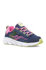 Saucony Wind Shield Big Kid Sneaker - Navy/Green/Pink - Front cropped