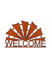 Rustic Ironwerks Windmill Welcome Sign - Front cropped