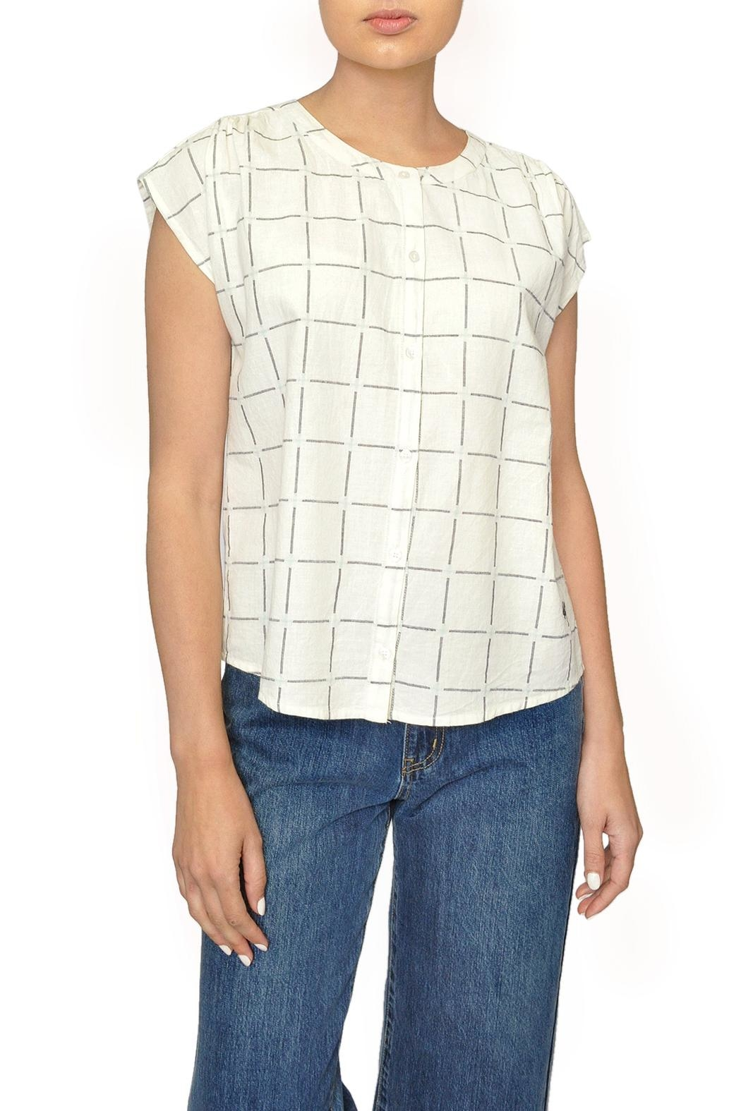 Indi & Cold Windowpane Plaid Top - Main Image