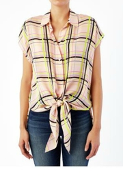 Nicole Miller Windowpane Silk Blouse - Product Mini Image