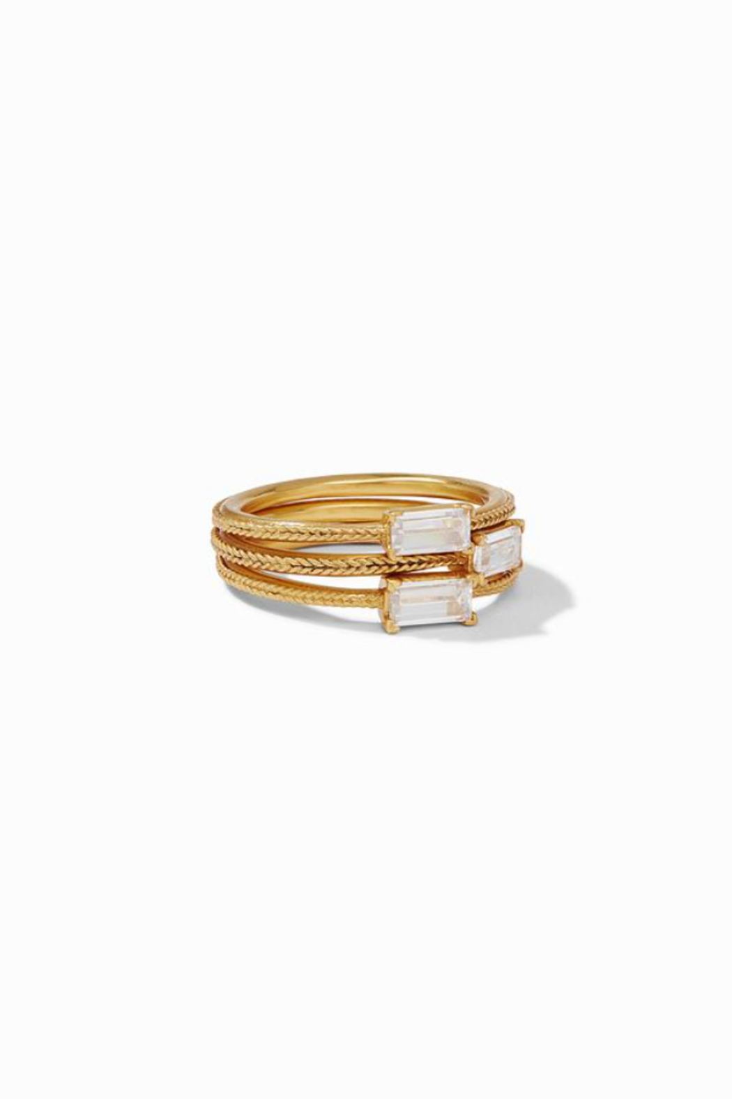 Julie Vos  Windsor Trio Ring Gold Cubic Zirconia Size 6 - Main Image
