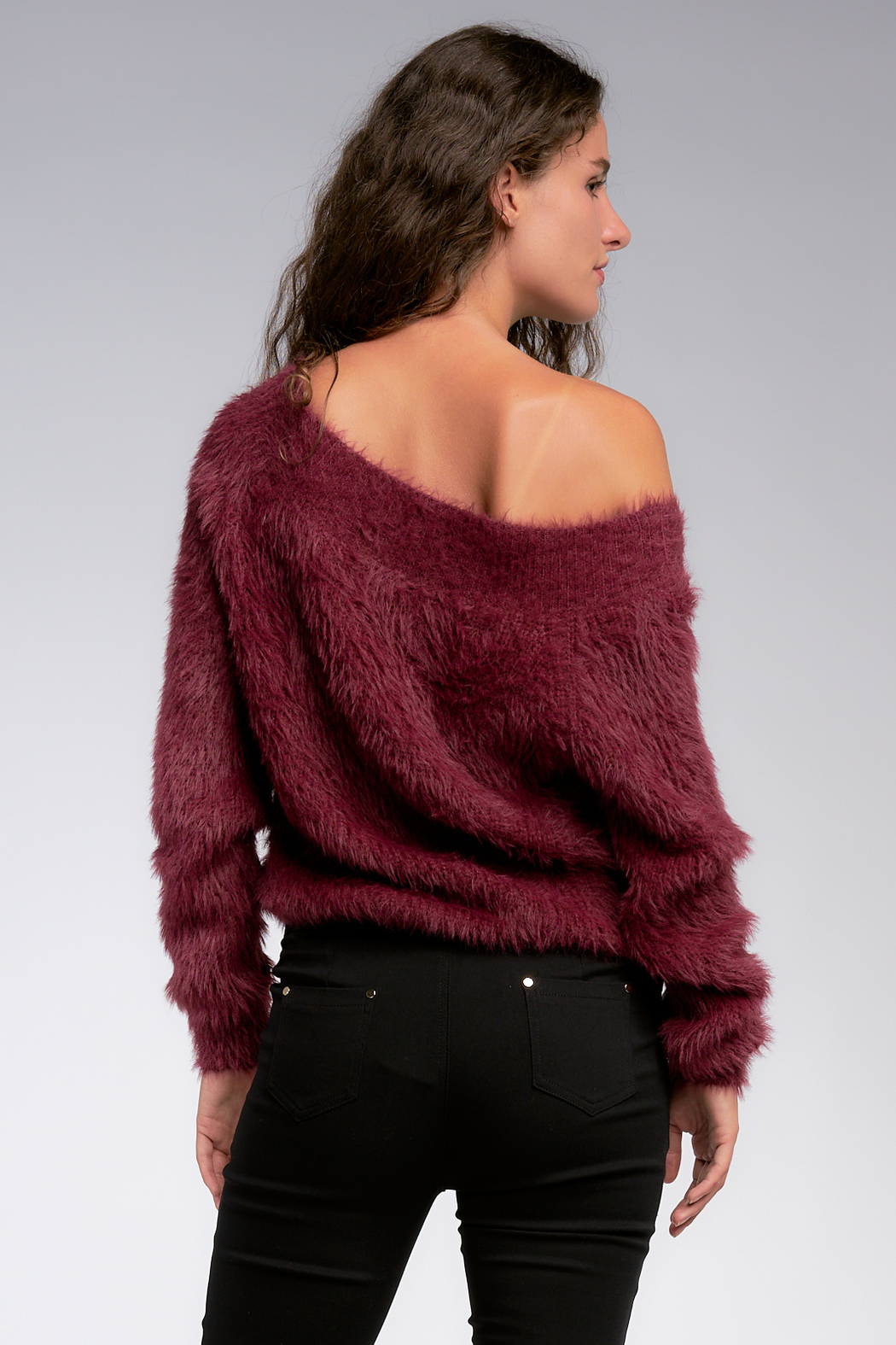 Elan Wine and Dine off the Shoulder Fuzzy Sweater - Side Cropped Image