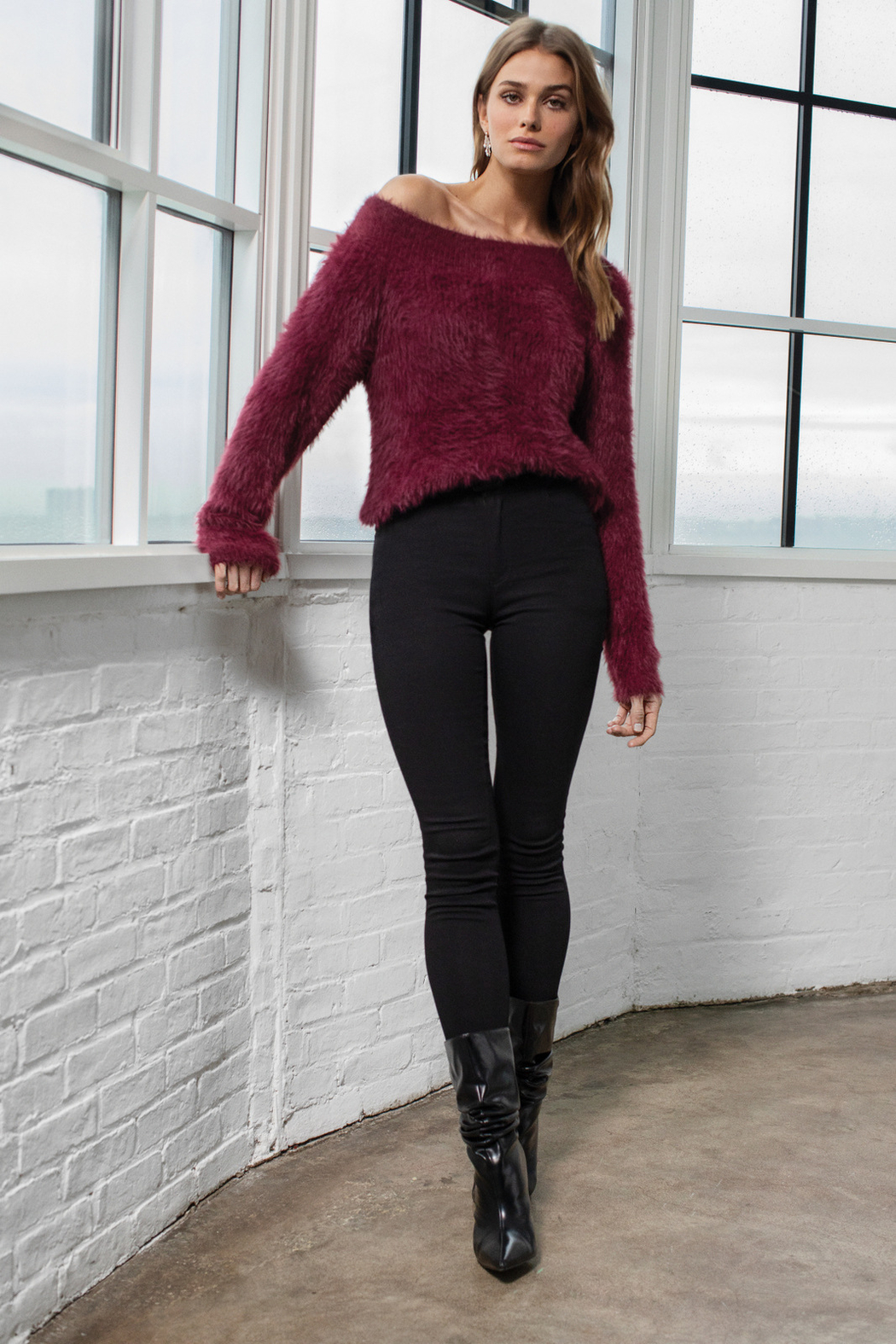 Elan Wine and Dine off the Shoulder Fuzzy Sweater - Main Image