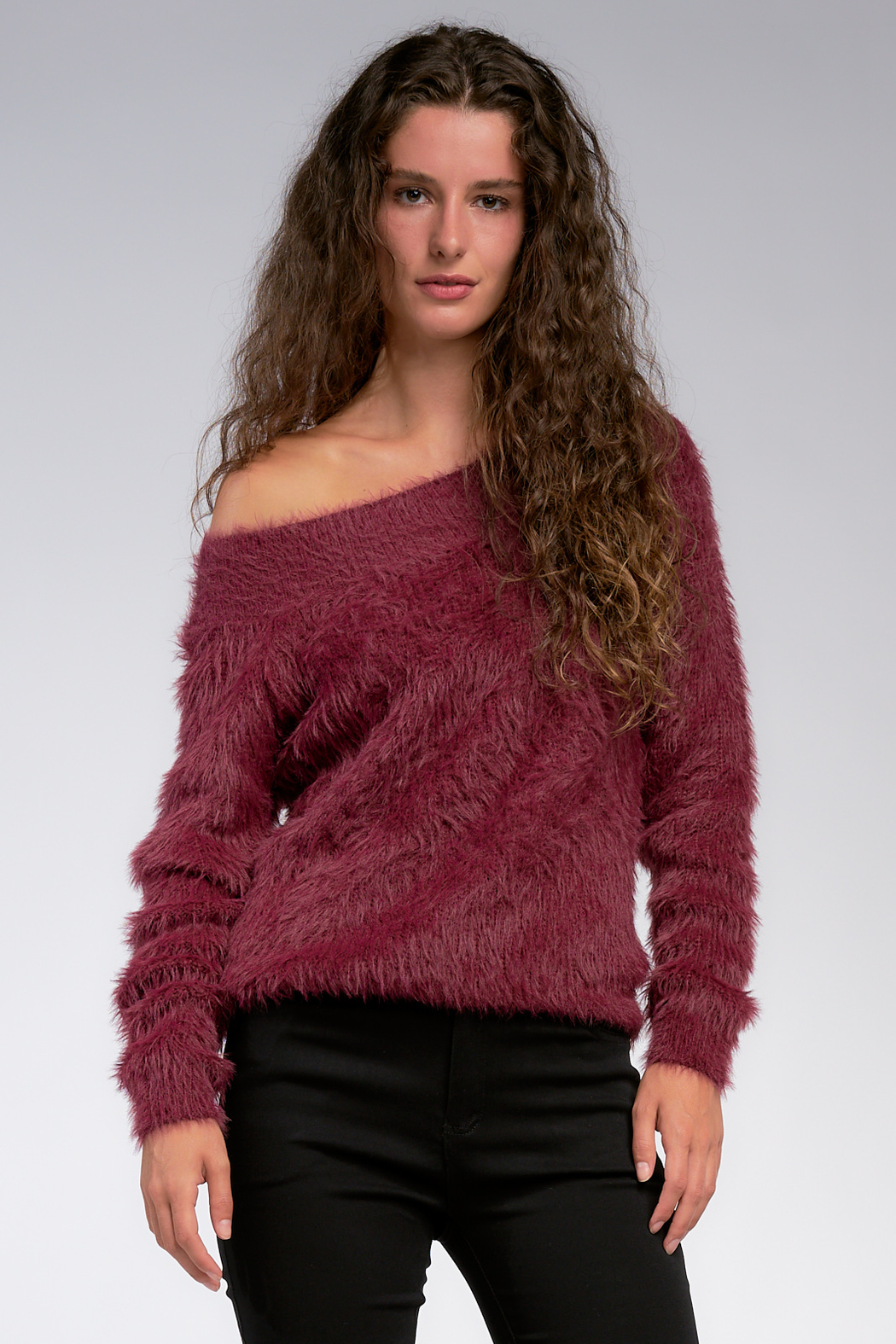 Elan Wine and Dine off the Shoulder Fuzzy Sweater - Front Full Image
