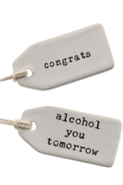 Homart Wine Bottle Ceramic Sentiment Tags - Product Mini Image