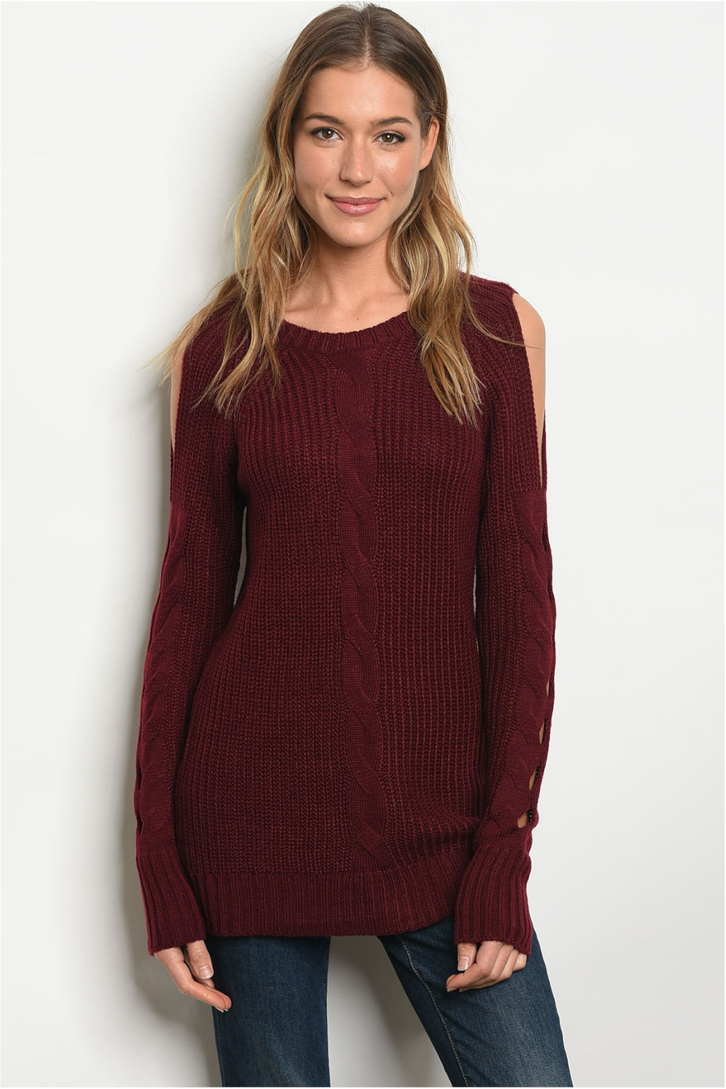 LoveRiche Wine Cable Knit Sweater - Main Image