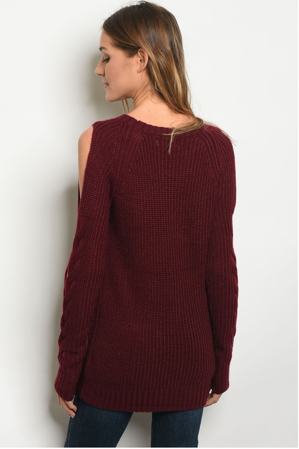 LoveRiche Wine Cable Knit Sweater - Front Full Image
