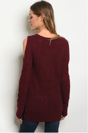 LoveRiche Wine Cable Knit Sweater - Front full body