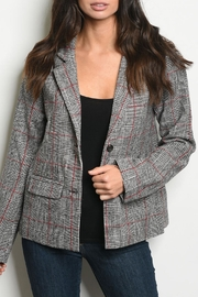LoveRiche Wine Checkered Blazer - Product Mini Image