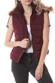 Love Tree Wine-Colored Fur-Hood Vest - Product Mini Image