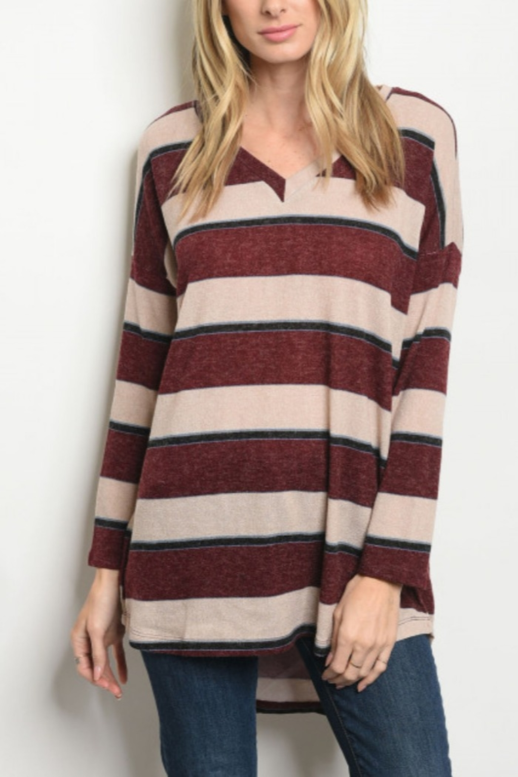 Lyn -Maree's Wine & Cream Stripe Top - Main Image
