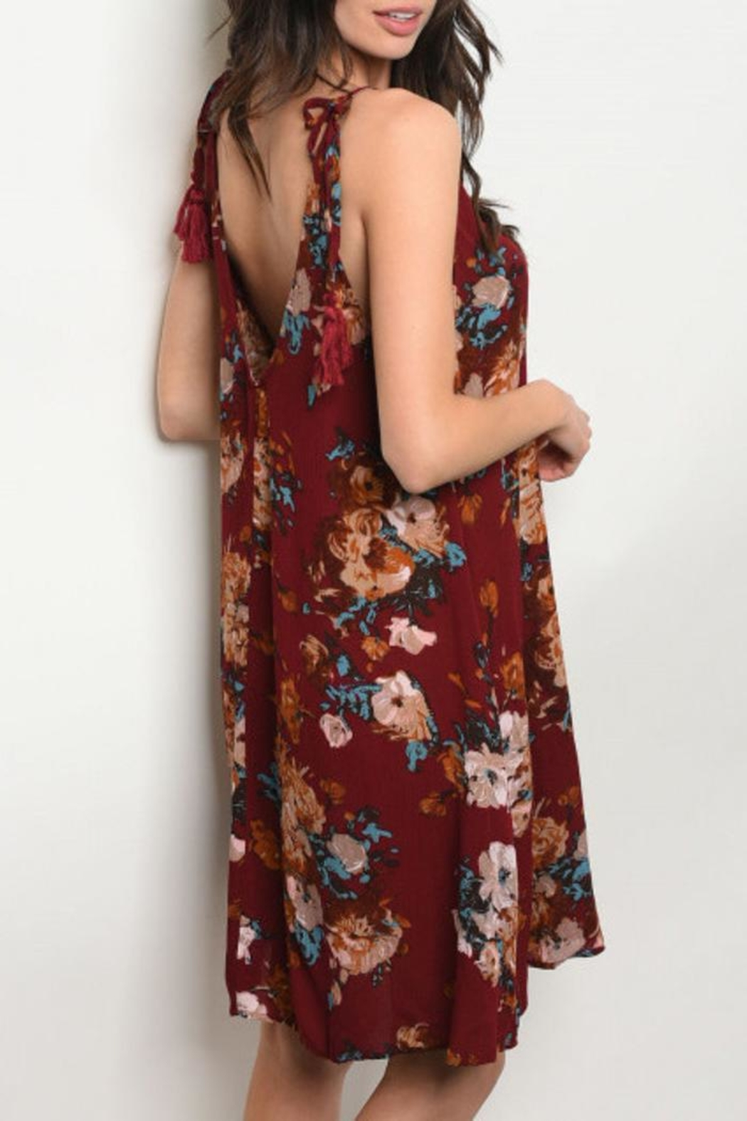 Mittoshop Wine Floral Dress - Front Full Image