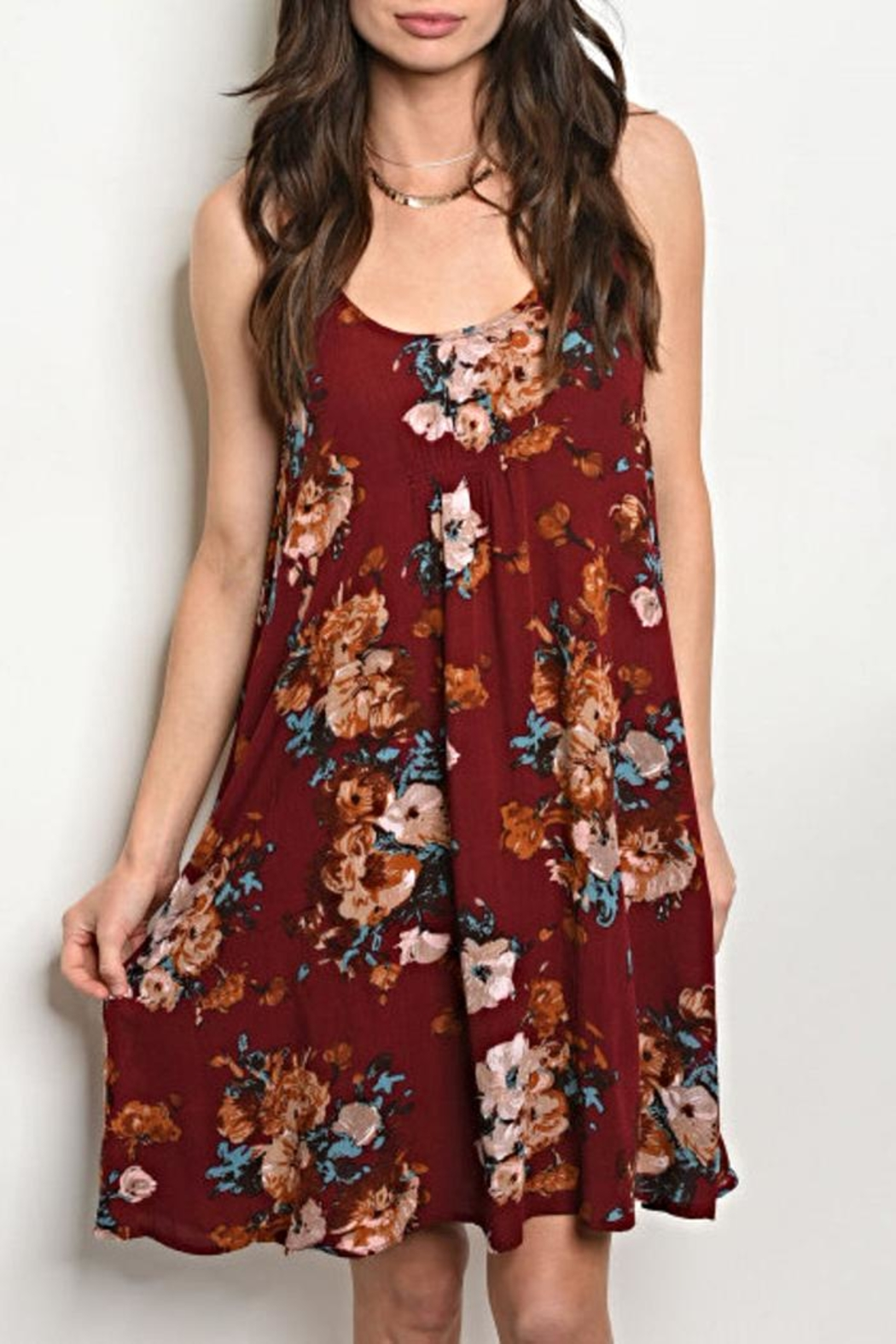 Mittoshop Wine Floral Dress - Front Cropped Image