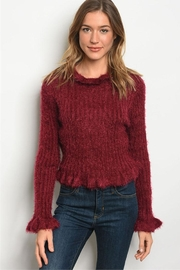 LoveRiche Wine Fluffy~frill Sweater - Product Mini Image