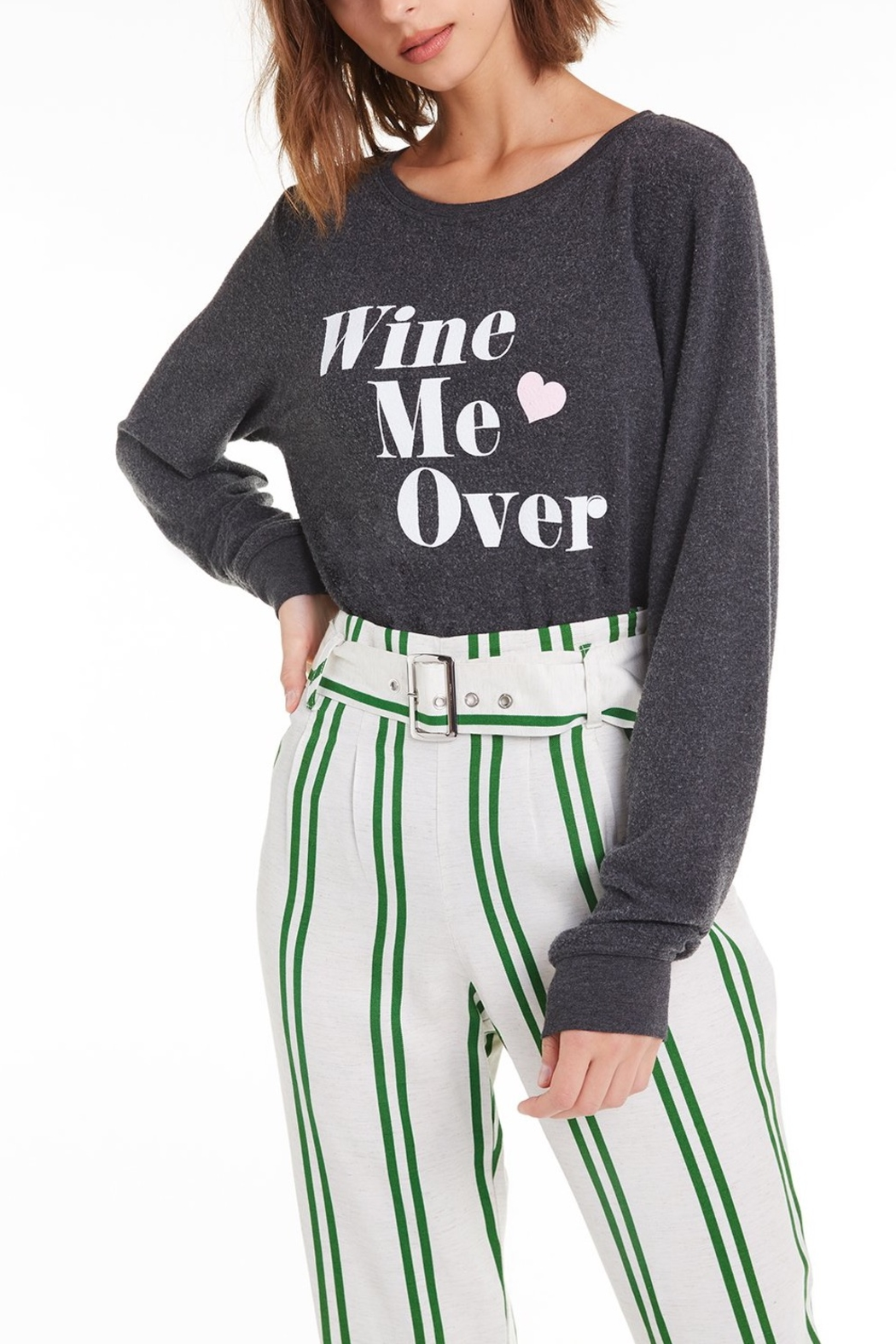 Wildfox Wine Me Over Baggy Beach Jumper - Front Cropped Image