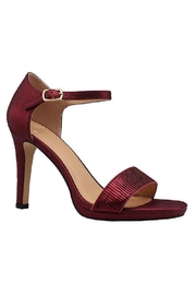 De Blossom Collection Wine Metallic Ruffled Heels - Front cropped