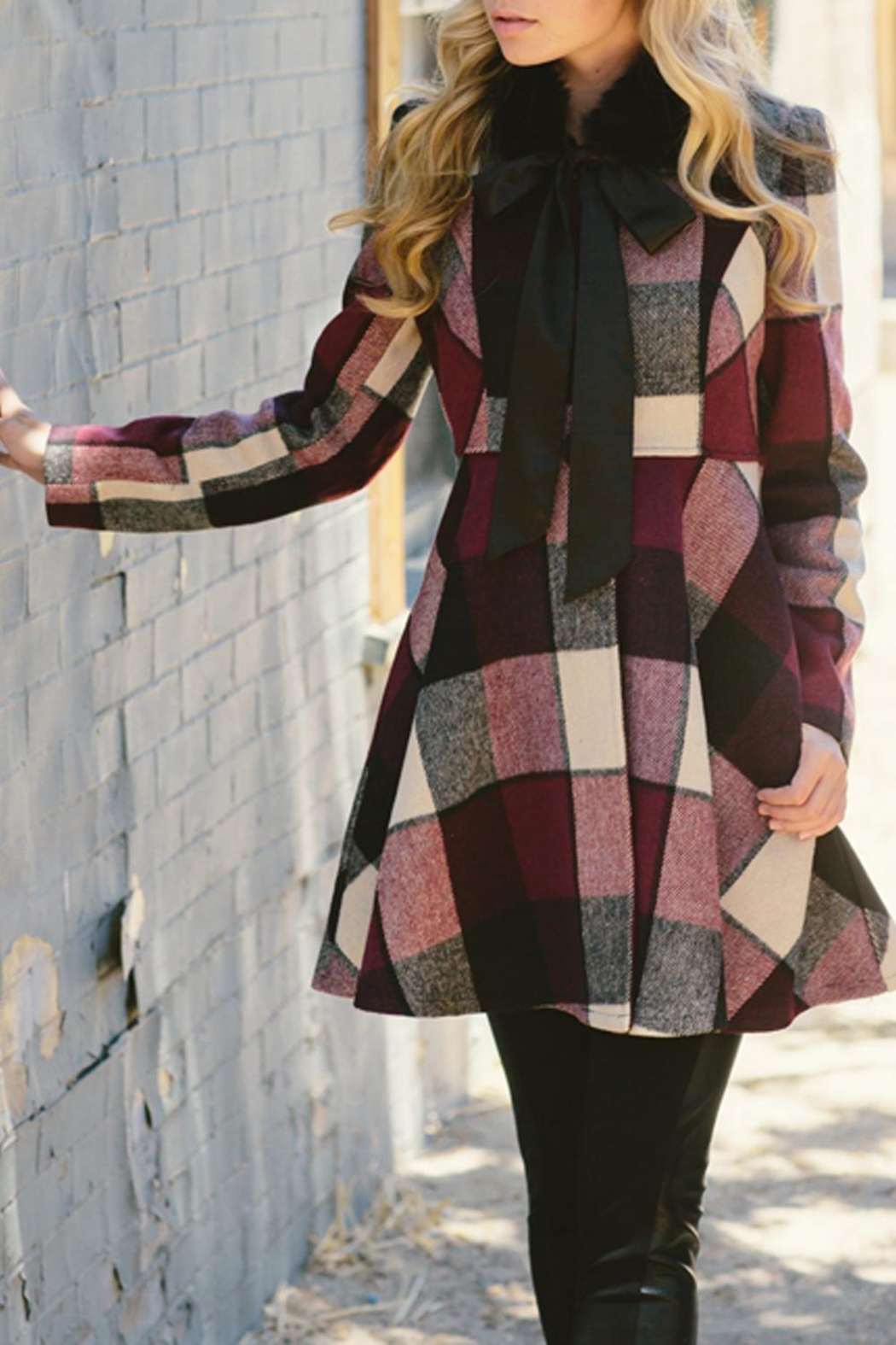 The Vintage Valet Wine Plaid Jacket - Front Cropped Image